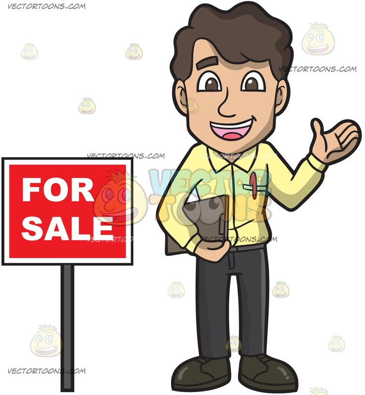 A Decent Male Real Estate Agent:   A man with brown black hair wearing a yellow dress shirt with a red pen in the chest pocket black pants shoes smiles while holding a brown clipboard in his right hand as he stands beside a red for sale sign