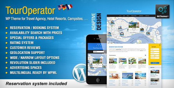 Tour Operator is a reservation ro booking system WordPress theme. It is simple and easy to use reservation system with absolutely unique theme design and layout. The Tour operator prefect to use as a businesses website. There are a lot of options availability search with prices, special offers and packages, customer reviews, advertising spaces and much more. It is nice theme and powerful options tour operator agency, hotel resorts, guesthouses, B, campsites or any other businesses that…