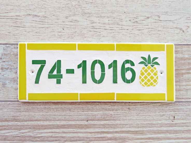 Mosaic House Number Plaque Outdoor House Number Beach Mailbox Number Ceramic Tile House Number Modern House Number Mosaic Tile Pineapple by jenzartcreations on Etsy