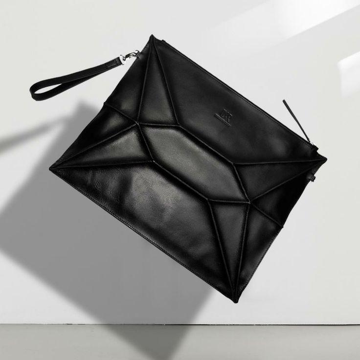 """""""KYBORG"""" MIDI CLUTCH #Leatherclutch #computercase #shoulderbag #avantgarde #fashionbag #fashion #clutch #black #handmade #bag #leatherbag #undermyroof #leather"""