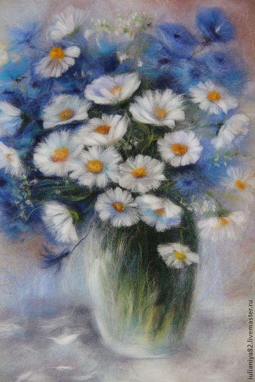Купить Голубая лазурь. картина из шерсти. - букет с ромашками, Живопись, натюрморт с цветами, живопись шерстью