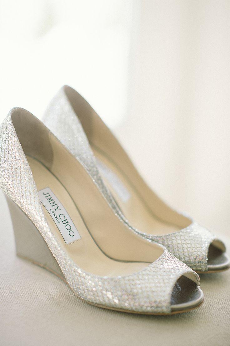 #JimmyChoo Wedge Peep Toe Shoes | On SMP: http://www.StyleMePretty.com/2014/02/04/elegant-newport-estate-wedding/ Jenny Moloney Photography