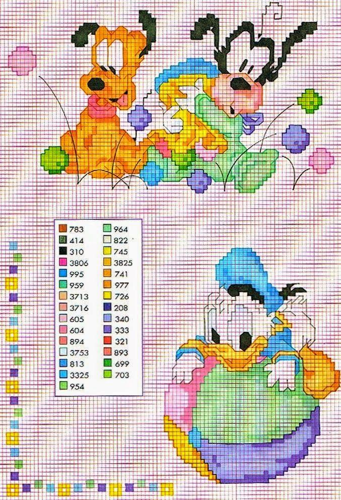Ricami, lavori e centinaia di schemi a punto croce di tutti i tipi, gratis: Grande raccolta personaggi Disney a punto croce