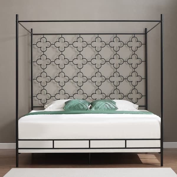 Metal Canopy Bed Frame, The Curated Nomad Quatrefoil Queen Canopy Bed