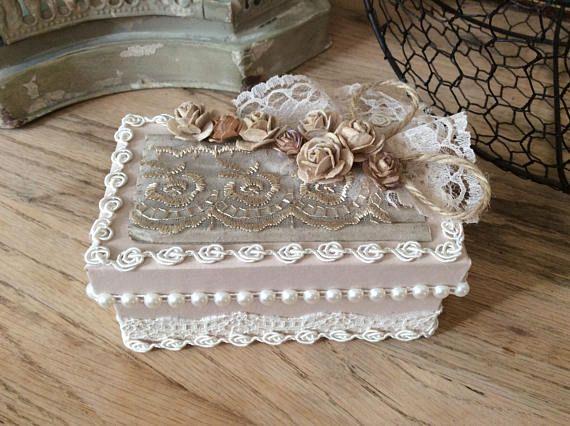 Decorative box Victorian wedding gift box altered box lace