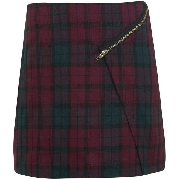 Miss Selfridge Tartan Mini Skirt, Magenta found on Polyvore