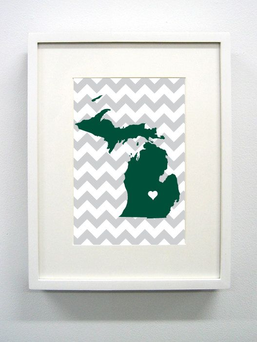 East Lansing Michigan State Glicée Print  8x10  by PaintedPost, $15.00 #paintedpoststudio - Michigan State University - Spartans - MSU- What a great and memorable gift for graduation, sorority, hostess, and best friend gifts! Also perfect for dorm decor! :)