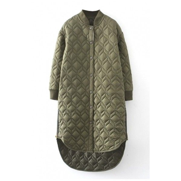 Plain Stand Up Neck Rhombus Quilted Padded Long Coat ($49) ❤ liked on Polyvore featuring outerwear, coats, padded coat, longline coat, long coat, long quilted coat and quilted coat