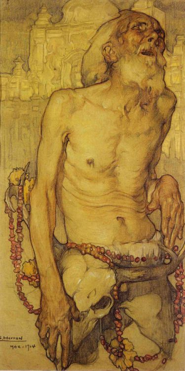 "terriblepersona:  El último canto- Saturnino Herrán (1914)   Hi everybody, this one is actually called  ""El último canto""  wich in english is ""The last song"" sorry  about the misunderstanding, and by the way the techinique is watercolor and color pencils, Herrán actually has a drawing depicting blind people wich is calledos  ""Los ciegos"" wich means ""The blind"" and here it is.   Saturnino Herrán is one of the greatest mexican painters of all time wi..."