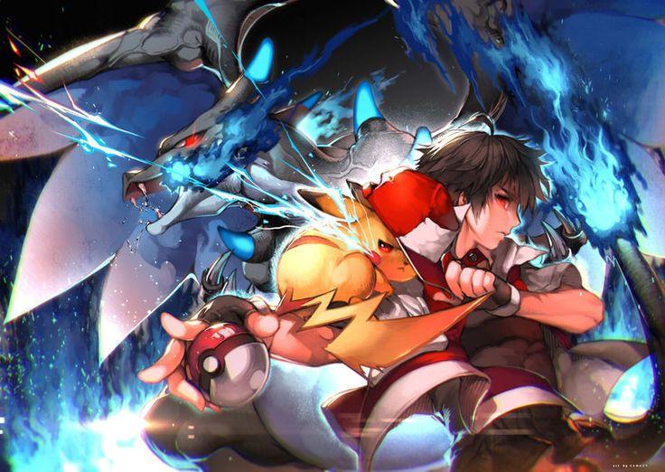 Red & Pikachu & Mega-Charizard X
