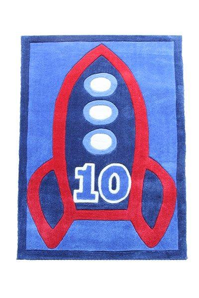 Up up & away with this rocket rug. #patersonrose #boyslinen #boysrooms #boysbedroomdecor #kidsrugs #rockets