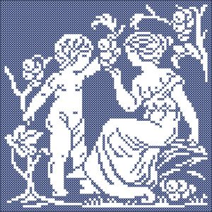 The four seasons: Autumn   Chart for cross stitch and filet crochet.