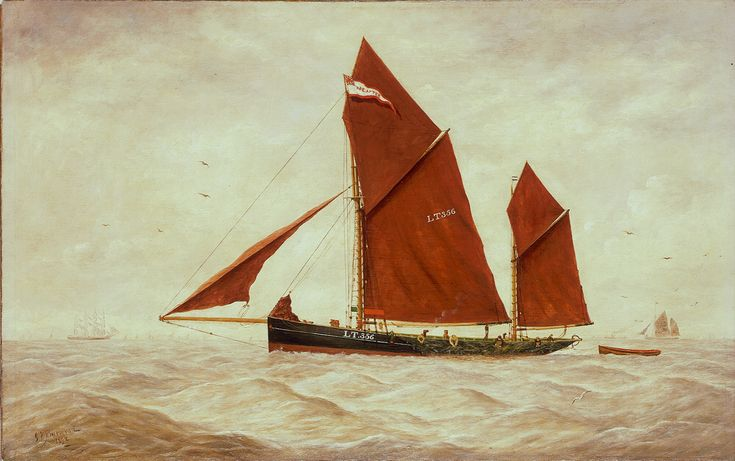 A highly detailed ship portrait of a Lowestoft trawler, 'LT356', signed Burwood (1844-1917) and dated 1892. She is shown broadside-on and is towing a small ship's boat from the stern. Her markings are clearly visible on her distinctive red sails. The fishermen can be seen hanging over the side as they attend to their large trawling nets.
