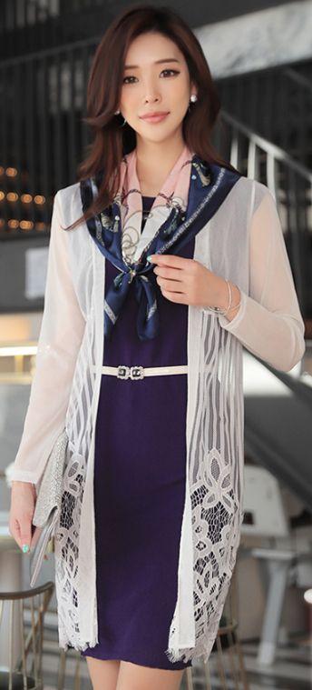 StyleOnme_Floral Lace Mesh Long Cardigan #white #floral #lace #sheer #mesh #cardigan #spring #koreanfashion #elegant #feminine #dailylook