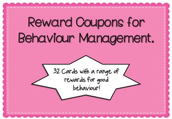32 different, colorful coupons to reward students for good behavior in the classroom.  Coupons include:No Shoes: Wear no shoes for the day.Music: Listen to music on your iPadTeacher's Desk: Sit at the teacher's desk for the day.Show and Tell: Bring something to show the class.Fitness Fun: Choose a game to play outside for 15 minutes.Desk Swap: Swap seats with someone for the day.Computer: 15 minutes computer time at lunch.Lucky Dip: Choose an item from lucky dip.Treat Jar: Choose an item…