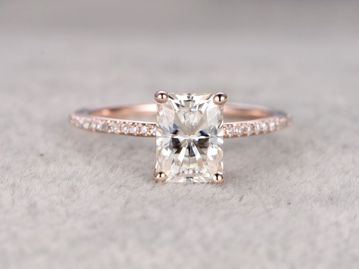 6x8mm Emerald Cut brilliant Moissanite Engagement ring Rose gold,Diamond wedding band,Gemstone Promise Bridal Ring,Ball-Prong,Anniversary by popRing on Etsy