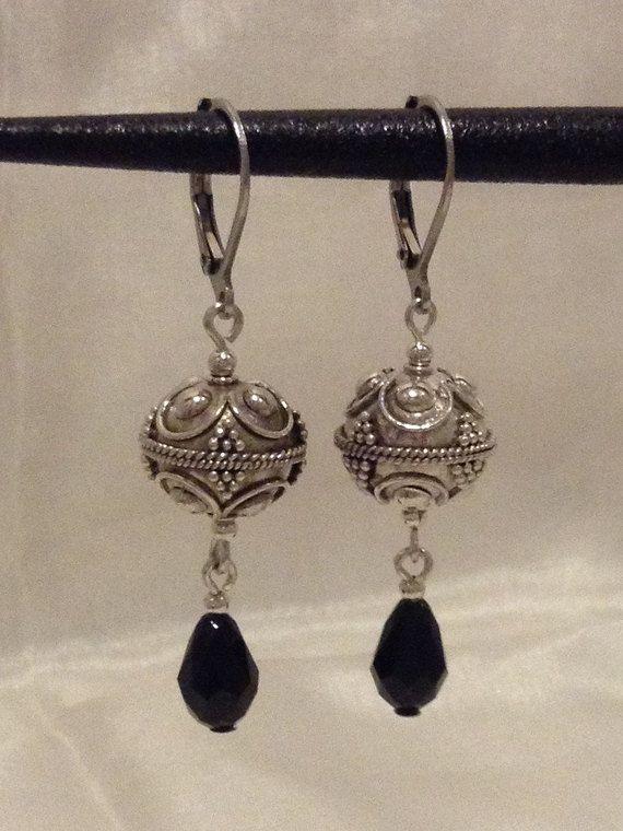aebb71ebd Beautiful Exotic Sterling Silver Earrings - 12 mm Sterling Silver Bali Beads,  2 mm Sterling Silver round beads, Tear drop shaped Swarovski Black Crystals  ...