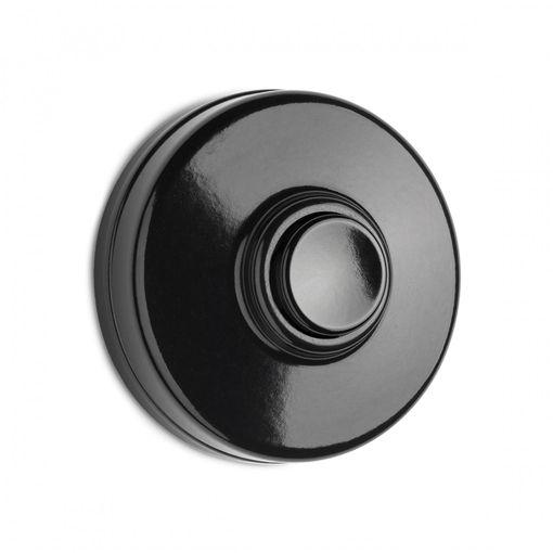 Beldrukker zwart  Mooie en zeer stijlvolle beldrukker. De THPG opbouw beldrukker (schroefmodel) zwart met zwarte drukker. De beldrukker heeft een speciale landelijke uitstraling. Ø 50 mm x hoogte 20 mm