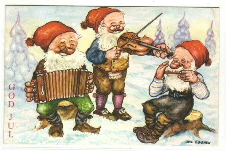 God Jul- (3 nisser spille musikk) sign. Jac. Edgren brukt 1953. Utg Mittet