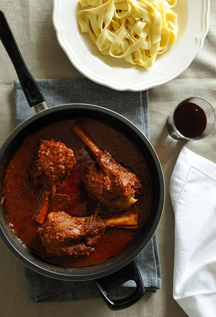 Cinnamon Braised Lamb Shanks. I used one cup red wine plus 2 cups of beef broth for the liquid part also one can diced  tomatoes and added Rosemary