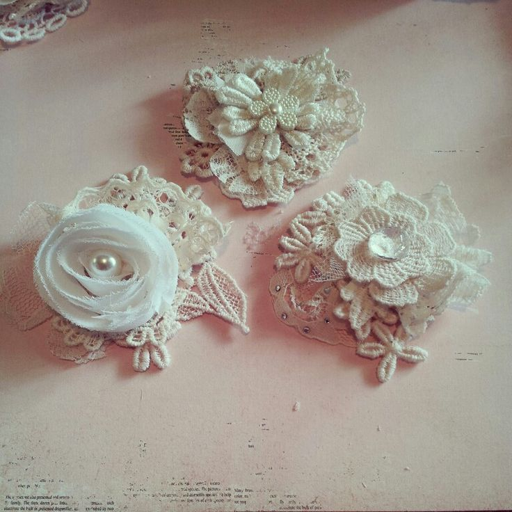 Shabby Chic Flowers with lace snippets created ♡ by Bona Rivera-Tran.