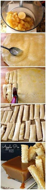 Apple pie fries! (My sis in law posted these on FB. Thought they were cute so I had to pin for later <3)