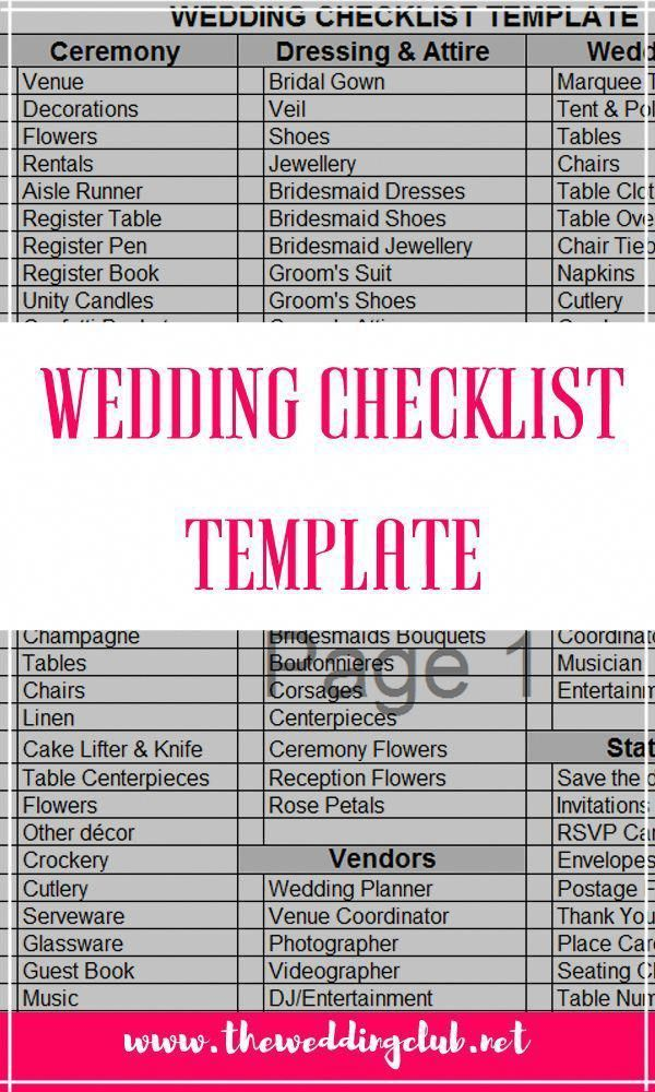 Wedding Checklist Template A Free Excel File That You Can Easily