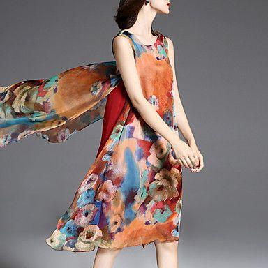 Mulheres+Swing+Vestido,Casual+/+Tamanhos+Grandes+Moda+de+Rua+Floral+Decote+Redondo+Assimétrico+Sem+Manga+Marrom+Seda+/+Poliéster+Verão+–+BRL+R$+77,71