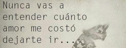 Nunca vas a entender cuánto Amor me costó dejarte ir.*