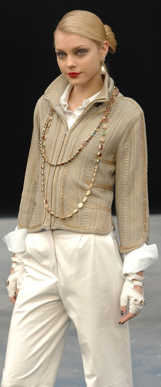 Chanel ~ Knit Sweater & Cream Pant
