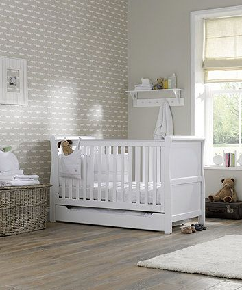 Mothercare Chiltern Sleigh Cot Bed- White - cot beds - Mothercare