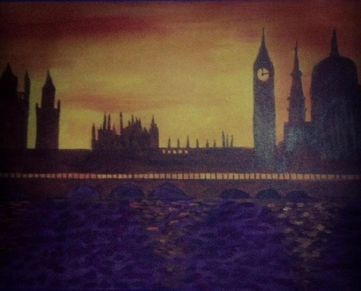 Pintura de Londres, sombreados e pôr do sol.