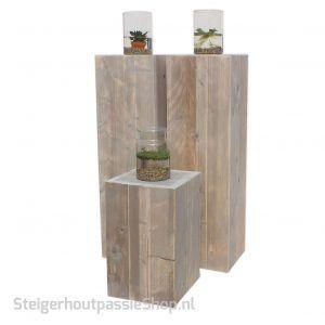 steigerhouten zuil Box 3 met vijvervaas SP