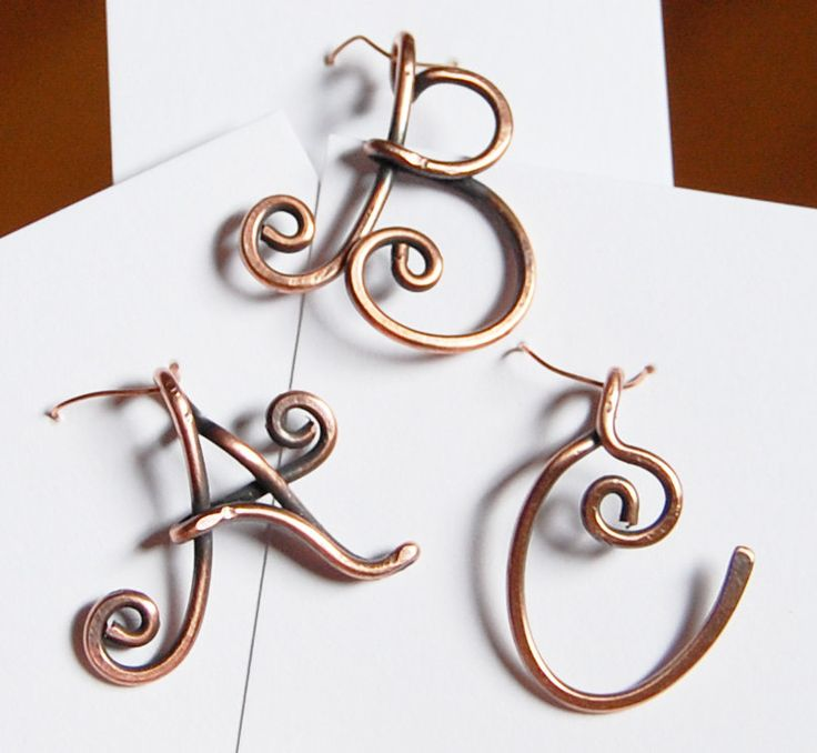 Image detail for -Initial Pendant, Charm, Oxidized, Copper Wire, Letter, Wire Jewelry