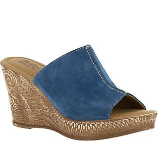 Bella Vita Leather or Suede Slide Wedges - Dax