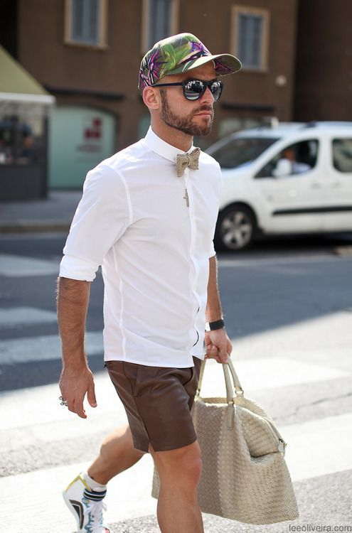 Men's White Dress Shirt, Dark Brown Shorts, Multi colored High Top ...