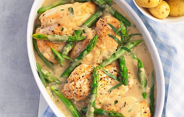 Creamy chicken with asparagus