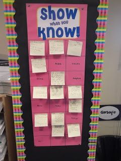 Exit Slip board with student names--I could do one before recess (reading) and specials (math)