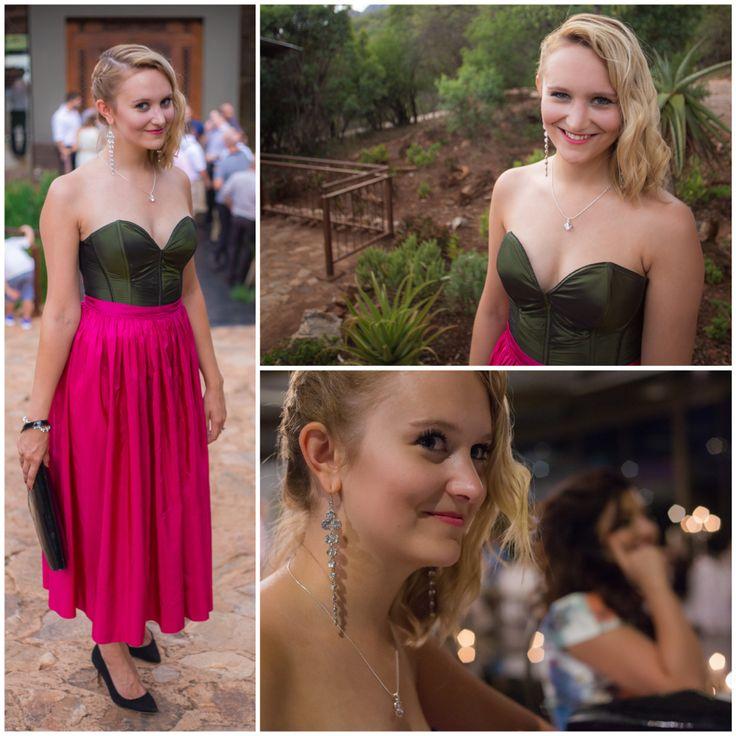 Perfect dress for a Wedding! Pink skirt and drak green corsage / taffeta / taffeta dress