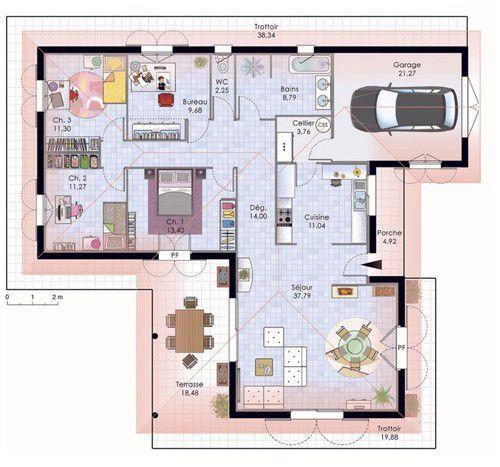 Plan habillé Rez-de-chaussée - maison - Maison de plain-pied 1