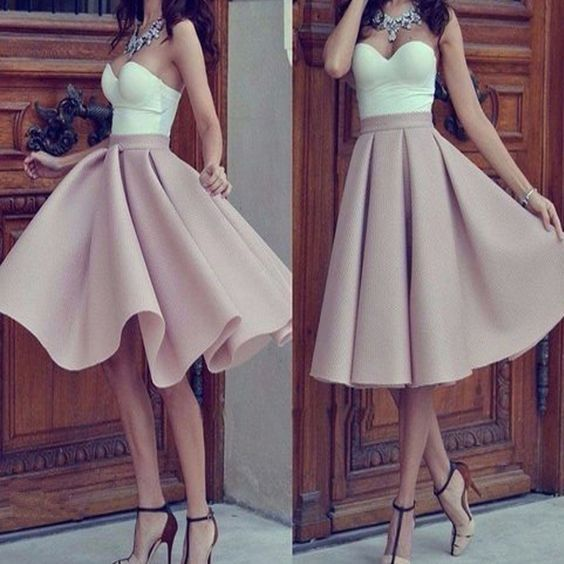 Simple Prom Dresses,Tea Length Prom Dress,Pink Prom Dress,Formal