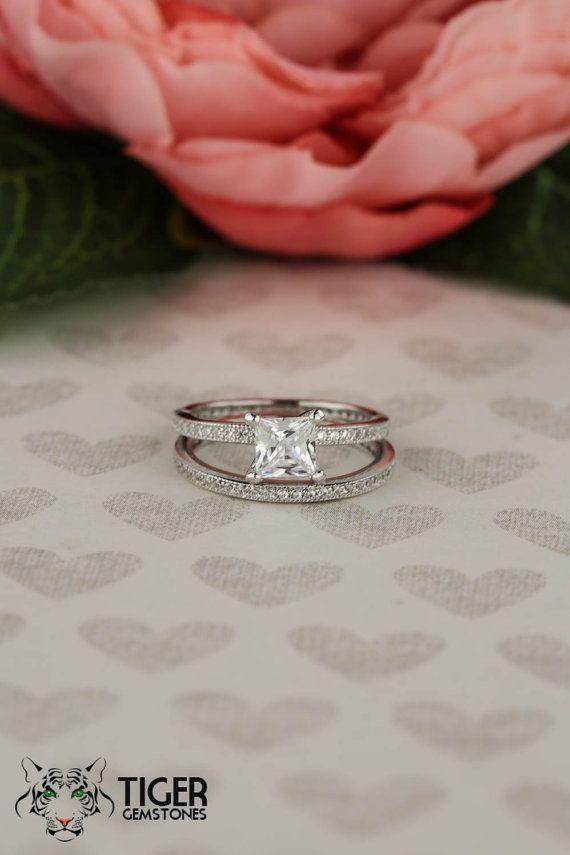 1 ctw Princess Cut Engagement Ring Eternity by TigerGemstones