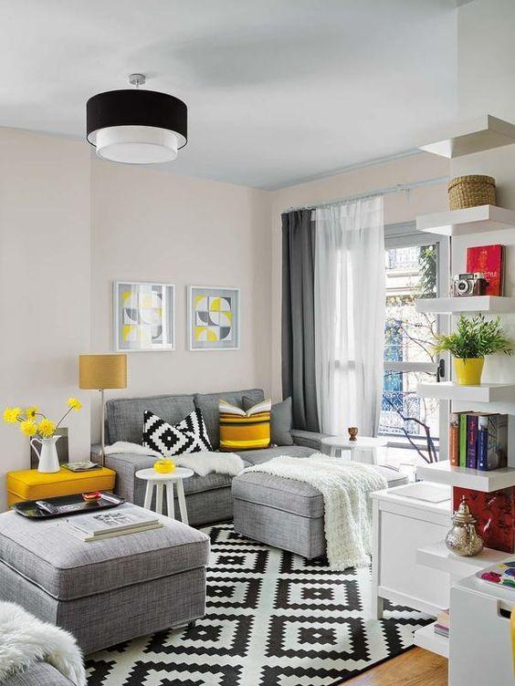 10 ideas para disfrutar de tu hogar en invierno #hogar #decoración #home #deco #invierno #frío #salón #gris #negro #blanco #alfombra #ikea #amarillo #plaid www.hogardiez.com.es