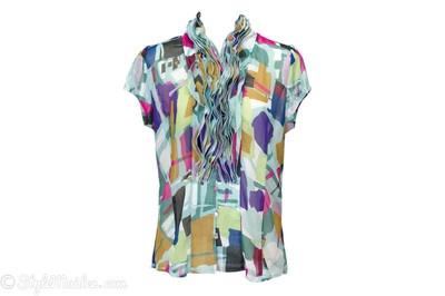 LAPIS Chiffon Pleated Collar Blouse Size XL