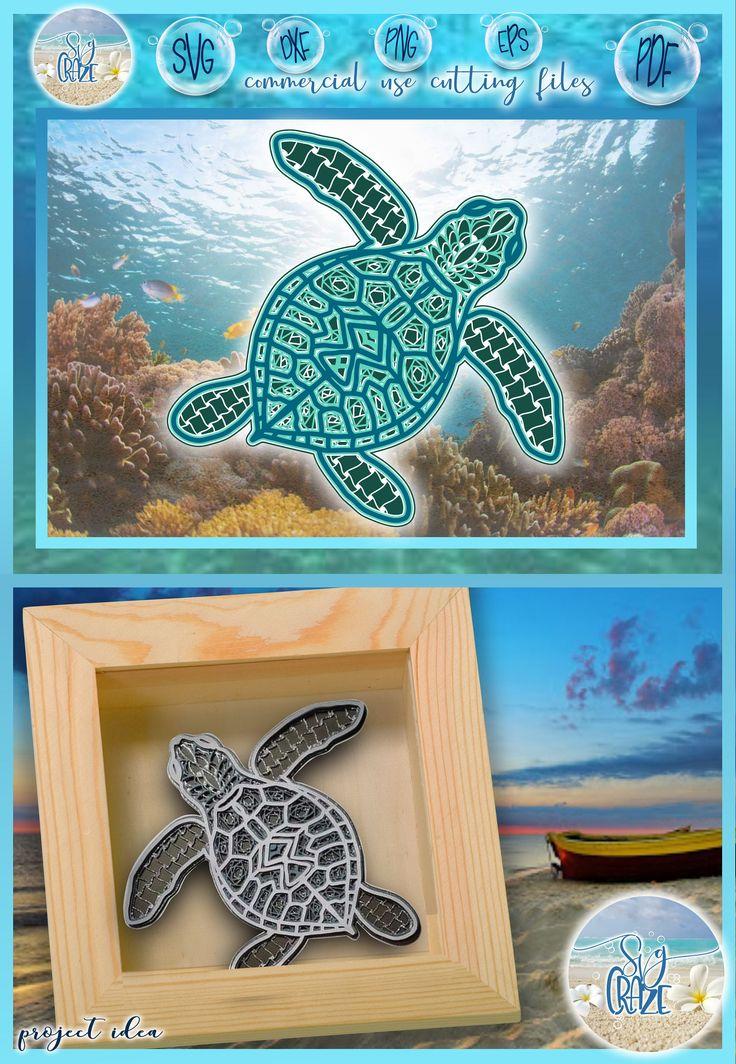 Download 3D Layered Design   Sea Turtle Mandala SVG file   Multi ...