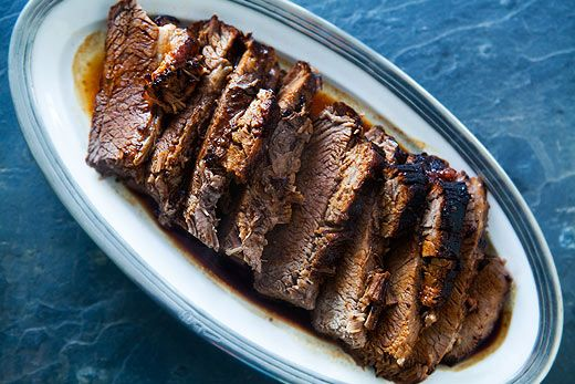 Easy! Beef brisket roast, slathered in a mixture of BBQ sauce and soy sauce, wrapped in foil, and baked until falling apart tender. Simple and delicious.: Beef Recipes, Apart Tender, Beef Brisket, Brisket Recipe, Bbq Sauces, Food, Soy Sauce, Brisket Roast, Falling Apart