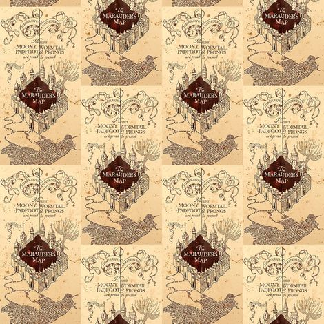 Marauders Map Small Print Harry Potter Fabric By