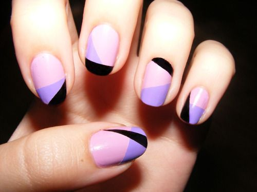 Pink, purple and black colour block nails.