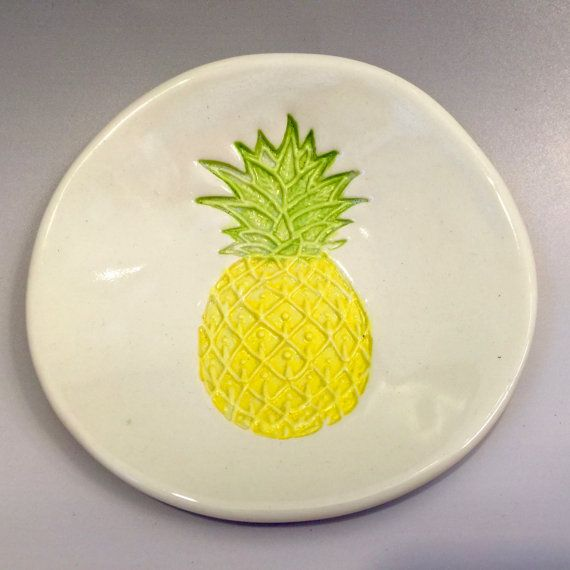 Pineapple ring holder Tropical Spoon Rest Trinket by TheClayCache