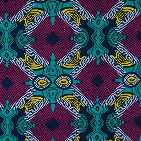 Tissu Wax motif africain - Rose, bleu & jaune